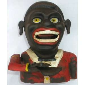 Jolly Man Black Americana Cast Iron Mechanical Bank