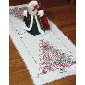 Lace Edge Table Runner 15X42 Christmas Tree