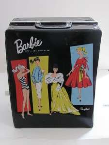 1961 VINTAGE BARBIE BLACK CLOTHING AND DOLL CASE TRUNK