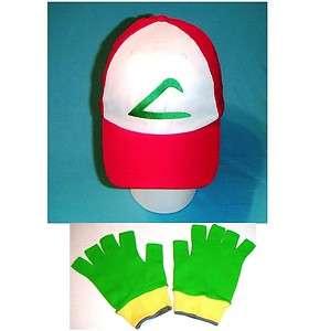 Ash Ketchum Hat Gloves FABRIC set costume Cap Pokemon Hat Adult or