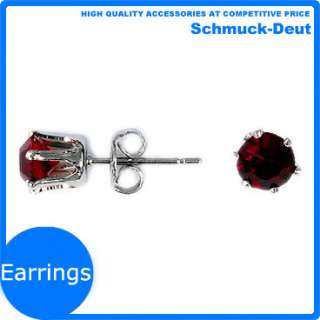 FASHION JEWELRY ROUND RED RUBY GARNET WHITE GOLD PLATED GP STUD