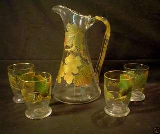 LOVELY ANTIQUE GLASS LEMONADE SET, PITCHER & 4 TUMBLERS