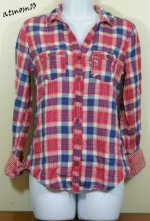 NWT Hollister Women Northside Button Down Plaid Shirt