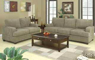 Corduroy Fabric Sofa and Loveseat Set Couch Love 7149