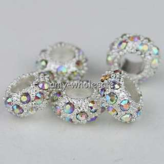 5X COLORFUL CRYSTAL SILVER SPACER CHARM BEADS M010810