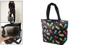 Women Colorful Peacock Feather Print Black Tote Handbag