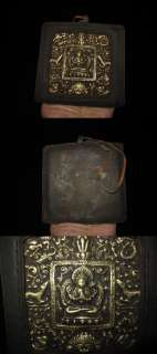 Old Nepal Tibet Yak Leather Gilt Chenrezig Buddha Ghau
