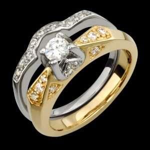 Shteii   Beautiful 14k Yellow & White Gold Wedding Band and Engagement