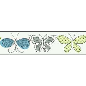 : Butterfly White Wallpaper Border in Girl Power II: Home Improvement