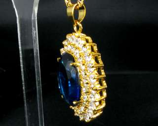 Fashion Jewelry Xmas Gift Oval Cut Blue Sapphire Yellow Gold GP