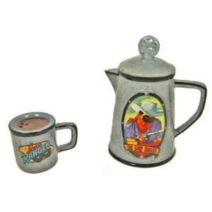 Collectible Lone Ranger Coffee Pot and Cup Salt and Pepper