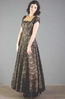 vtg ILLUSION LACE sheer CUT OUT party COCKTAIL GOWN black FLORAL dress