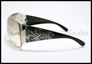TATTOO Fleur De Lis Design SHIELD Fashion Sunglasses GOLD BLACK