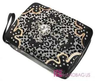 NEW BLING CRYSTAL CROSS METALLIC MESH LEOPARD PRINT BIBLE BOOK COVER