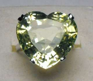 NR RARE 14KT ANTIQUE VICTORIAN HEART CUT 18cts VASELINE URANIUM GLASS