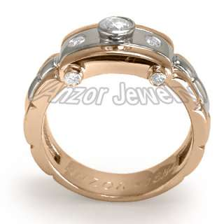 Mens 18k Solid Two Tone Gold Burnish Set Diamond Ring Ring Size 7 to