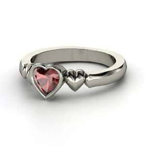 My Heart Beats for You Ring, Heart Red Garnet 14K White