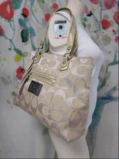 Poppy Light Khaki/Gold/Silver Lurex SIG Glam Tote Bag 16289