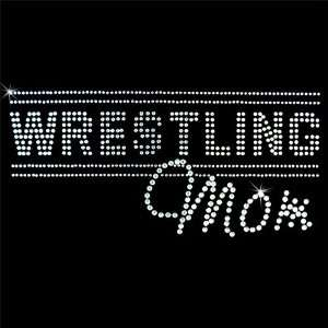 Iron on Hot Fix Rhinestone Motif Design Wrestling Mom 3