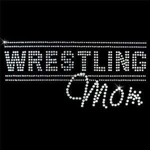 Iron on Hot Fix Rhinestone Motif Design Wrestling Mom 3