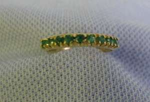 18 KT Yellow Gold Ladys 9 brilliant cut emerald size 6.5 ring (15