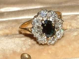 18 carat Gold platinum sapphire & Diamond cluster Ring