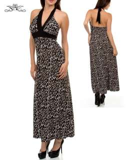 WOMANS PLUS SIZE ANIMAL PRINT HALTER MAXI DRESS 1XL NEW
