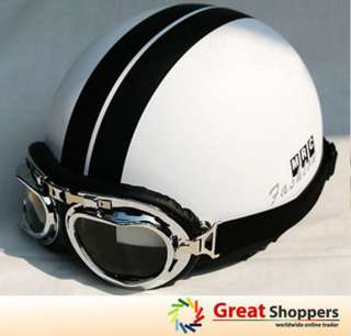 New White w/ Black Stripe Vintage Motorcycle Race Half Face Helmet