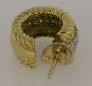 David Yurman Cable Classics Gold & Diamond Hoop Earrings
