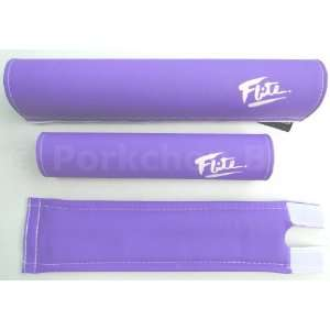 FLITE 3 Piece Nylon old school BMX Bicycle Padset   80s LOGO   PURPLE