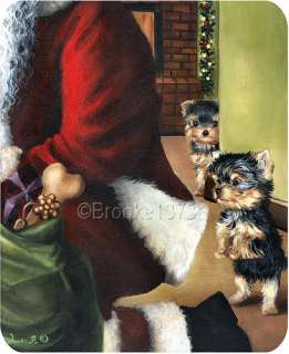Yorkshire Terrier Christmas mouse pad with Santa Yorkie puppies dog