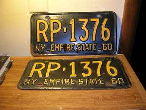 1960 60 NEW YORK NY LICENSE PLATE NICE TAG YOM PAIR