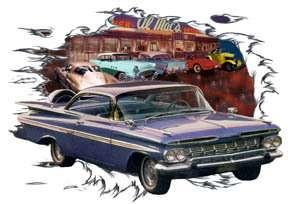 1959 Blue Chevy Impala Custom Hot Rod Diner T Shirt 59