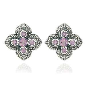 Sterling Silver Marcasite and Amethyst Flower Button Earrings Jewelry