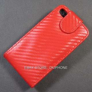 New Flip Top Leather Case Cover Carbon Fiber For Apple iPhone 4S 4 S