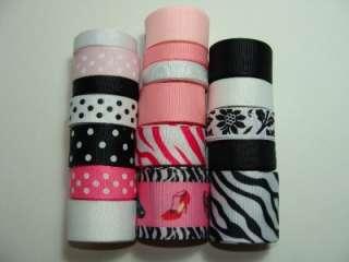 18Yards Pink Zebra High Heel Grosgrain Ribbon Lot