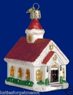 COUNTRY CHURCH OLD WORLD CHRISTMAS GLASS ORNAMENT 20009