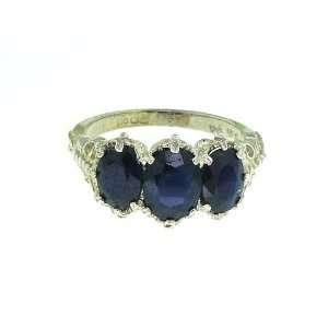 9K White Gold Ladies Blue Sapphire Ring   Finger Sizes 5