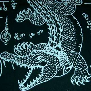 Thai JORAKE Crocodile Sak Yant Magic Tattoo T Shirt M Medium White on