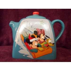 Disney Mickey, Minnie and Pluto Winter Scene Teapot