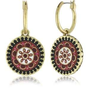 Lucky Brand Suzani Gold Tone Small Red Enamel Drop Earrings