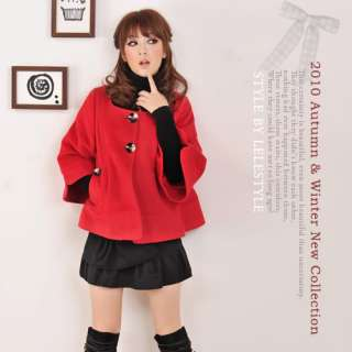 Korea Womens Cute Red Cashmere Flare Sleeve Short Coat