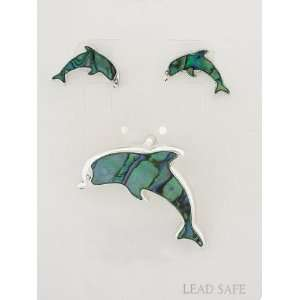 Fashion Jewelry ~ Green Abalone Dolphin Pendant and