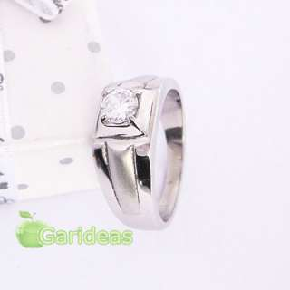 Mens Silver Stainless Steel Diamond Ring Item ID2089 US Size6 7 8 9