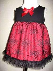 Goth Baby Girls Black,Red,Purple,Green, Web Top/Dress