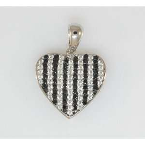 Ladies 925 Sterling Silver Fancy Heart Pendant White Gold Plated Black