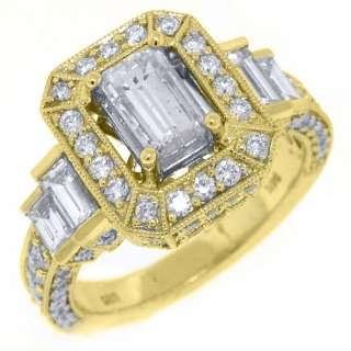 CARAT WOMENS ANTIQUE DIAMOND ENGAGEMENT WEDDING RING EMERALD CUT
