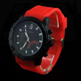 Fashion Mens Sport Red Big Dial Rubber Silicon Watch