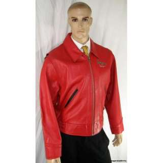 Chevignon Mens XL Motorcycle Jacket Red Road Masters Distressed *Aces