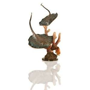 Large Dual Bronze Sting Ray Sea Life Statue  Kitchen